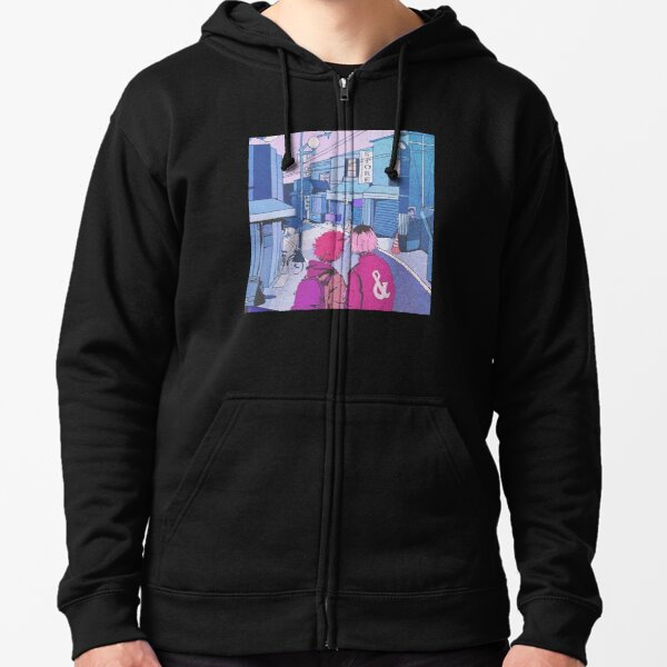 Tsunami Black /& White Abstract Art Hooded Sweatshirt