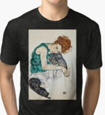 Egon Schiele The Seated Woman Women/'s All Over Graphic Contrast Baseball T Shirt