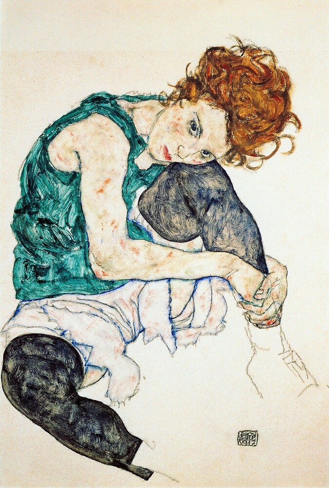Egon Schiele Seated Woman with Bent Knee by pdgraphics