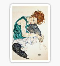 Egon Schiele Seated Woman with Bent Knee Sticker