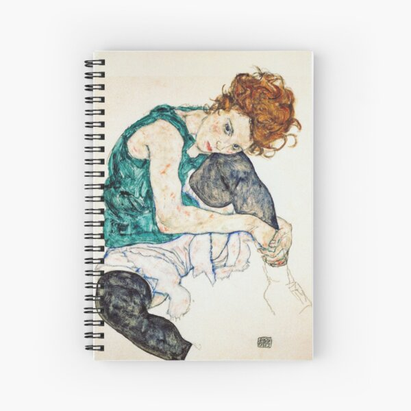 Egon Schiele Seated Woman with Bent Knee Spiral Notebook