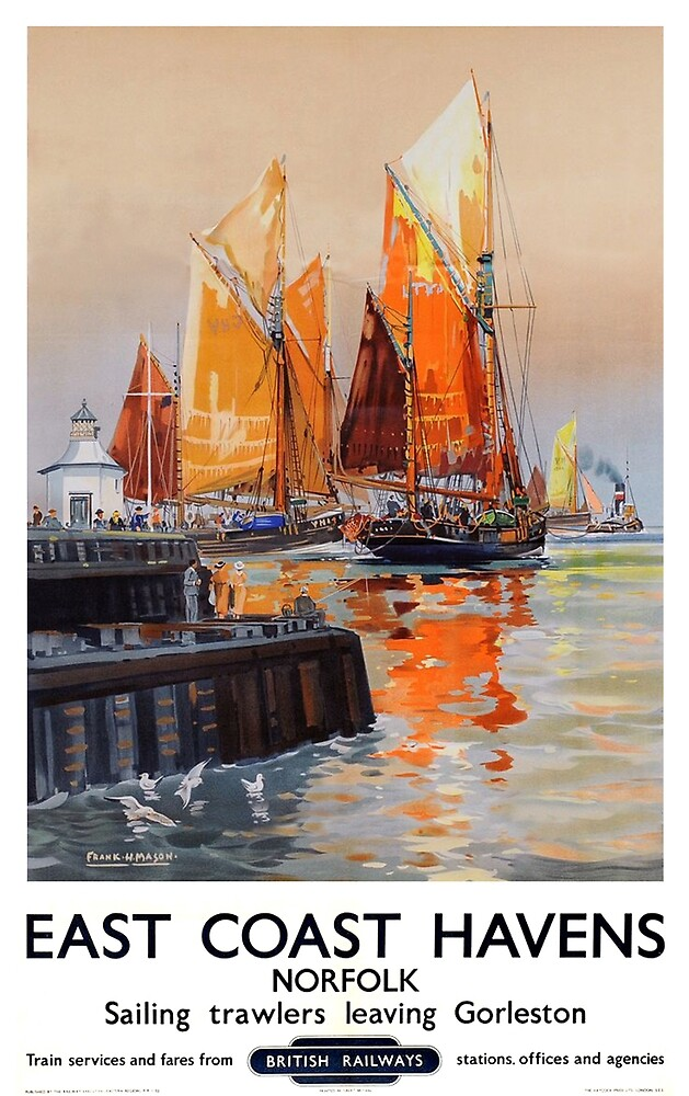 Norfolk, Port, England, sailing boats, travel poster by AmorOmniaVincit