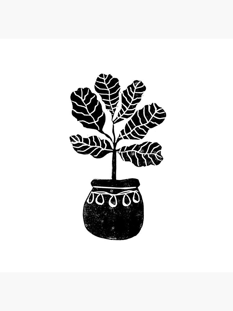 Linocut Houseplant fiddle fig nature botanical black and white minimalist decor by monooprints