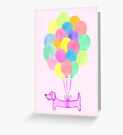 Pup Pup and Away! - Pink Greeting Card