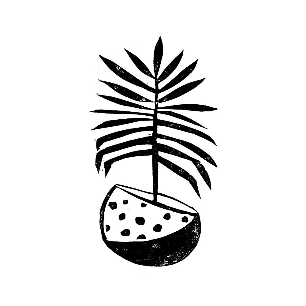 Linocut Houseplant nature botanical black and white minimalist decor by monooprints