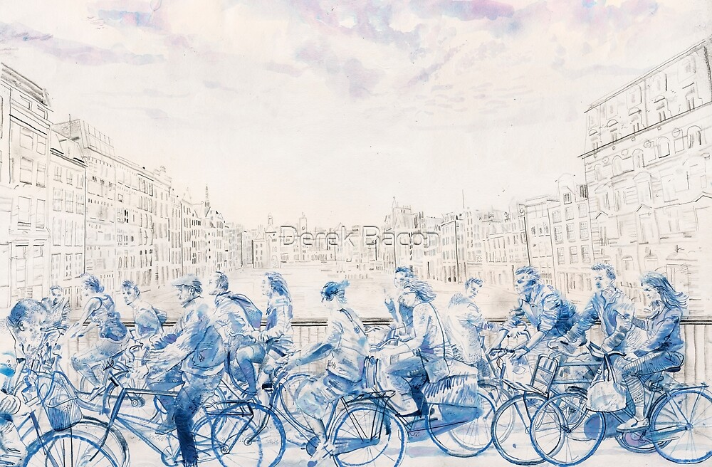 Amsterdam cyclists by Derek Bacon