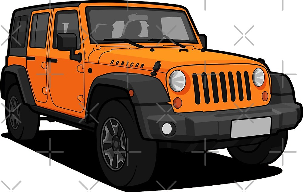 Orange Jeep Wrangler Rubicon SUV by xEver