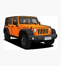 Orange Jeep Wrangler Rubicon SUV Photographic Print
