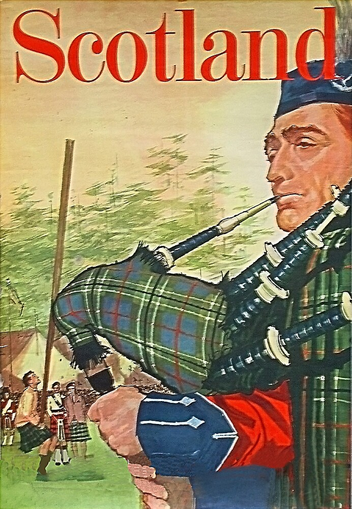 Scotland, man playing bagpipe, travel poster by AmorOmniaVincit
