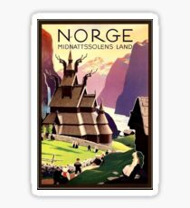Norway, traditional, village, travel poster Sticker