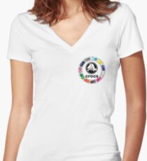 Croc Circle with logo Women's Fitted V-Neck T-Shirt