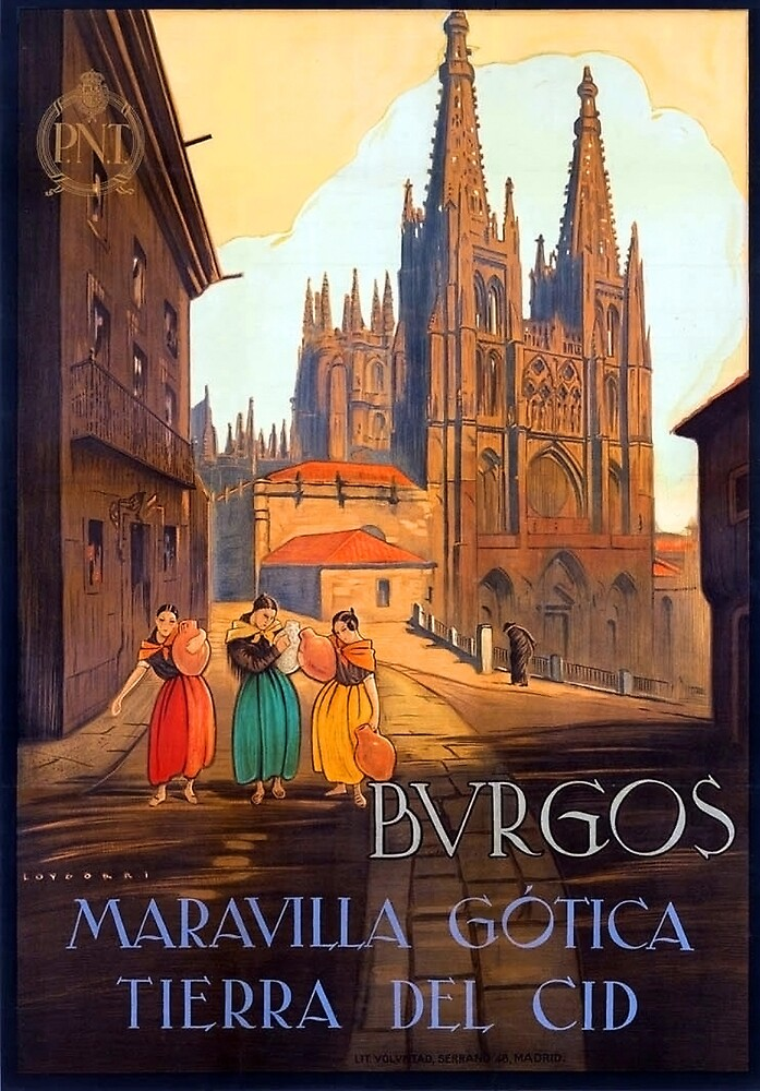 Burgos cathedral, Spain, travel poster by AmorOmniaVincit