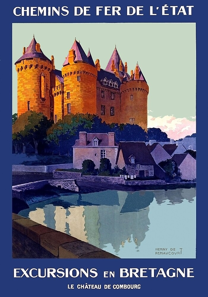 Excursions in Brittany, France, travel poster by AmorOmniaVincit