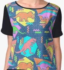 Nineties Dinosaurs Pattern Women's Chiffon Top