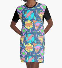 Nineties Dinosaurs Pattern Graphic T-Shirt Dress