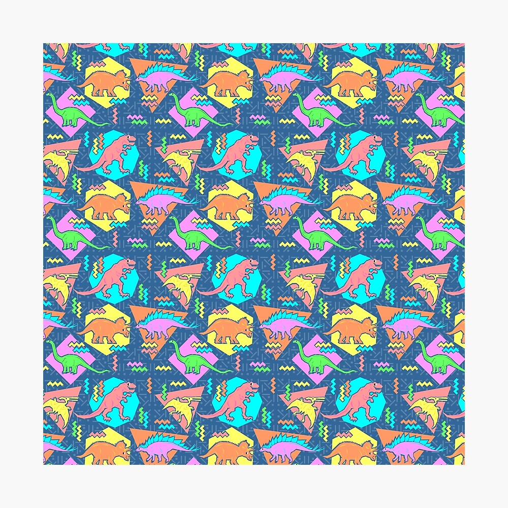Nineties Dinosaurs Pattern Photographic Print