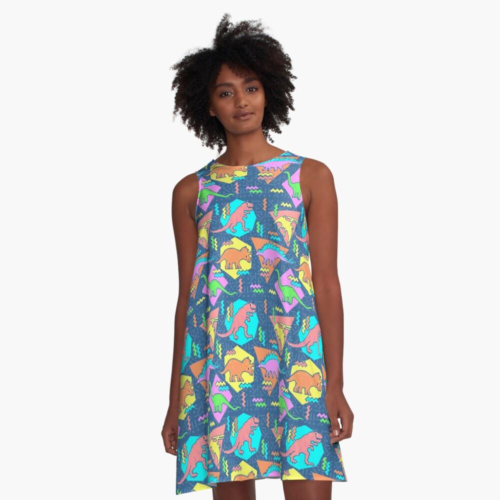 Nineties Dinosaurs Pattern A-Line Dress