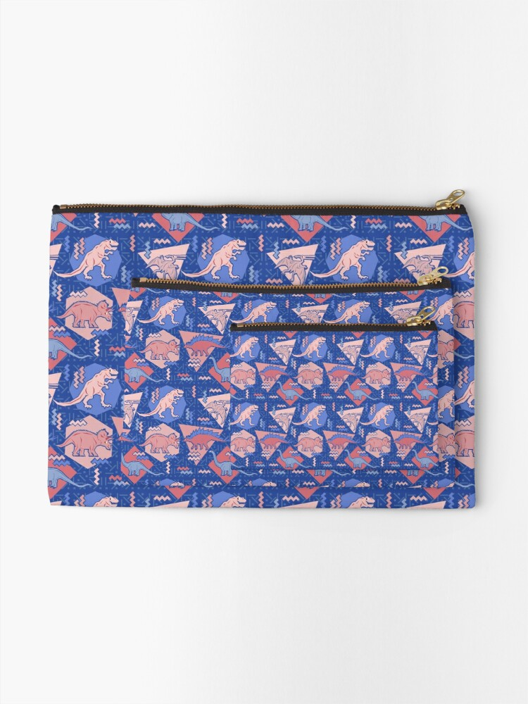 Alternate view of 90's Dinosaur Pattern - Rose Quartz and Serenity version Zipper Pouch