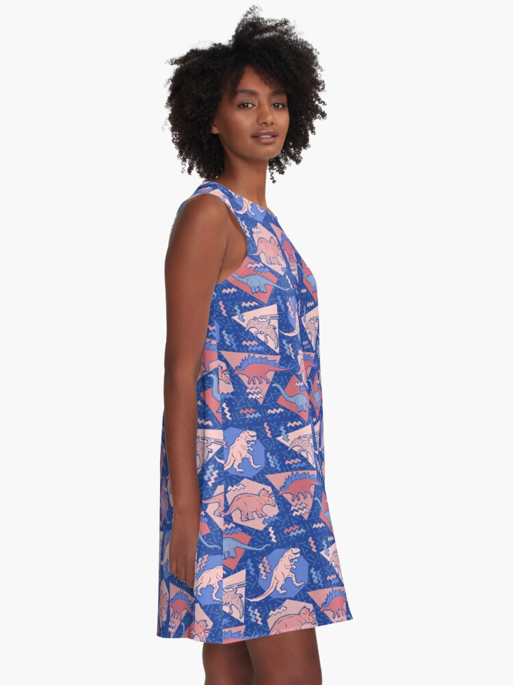 Alternate view of 90's Dinosaur Pattern - Rose Quartz and Serenity version A-Line Dress