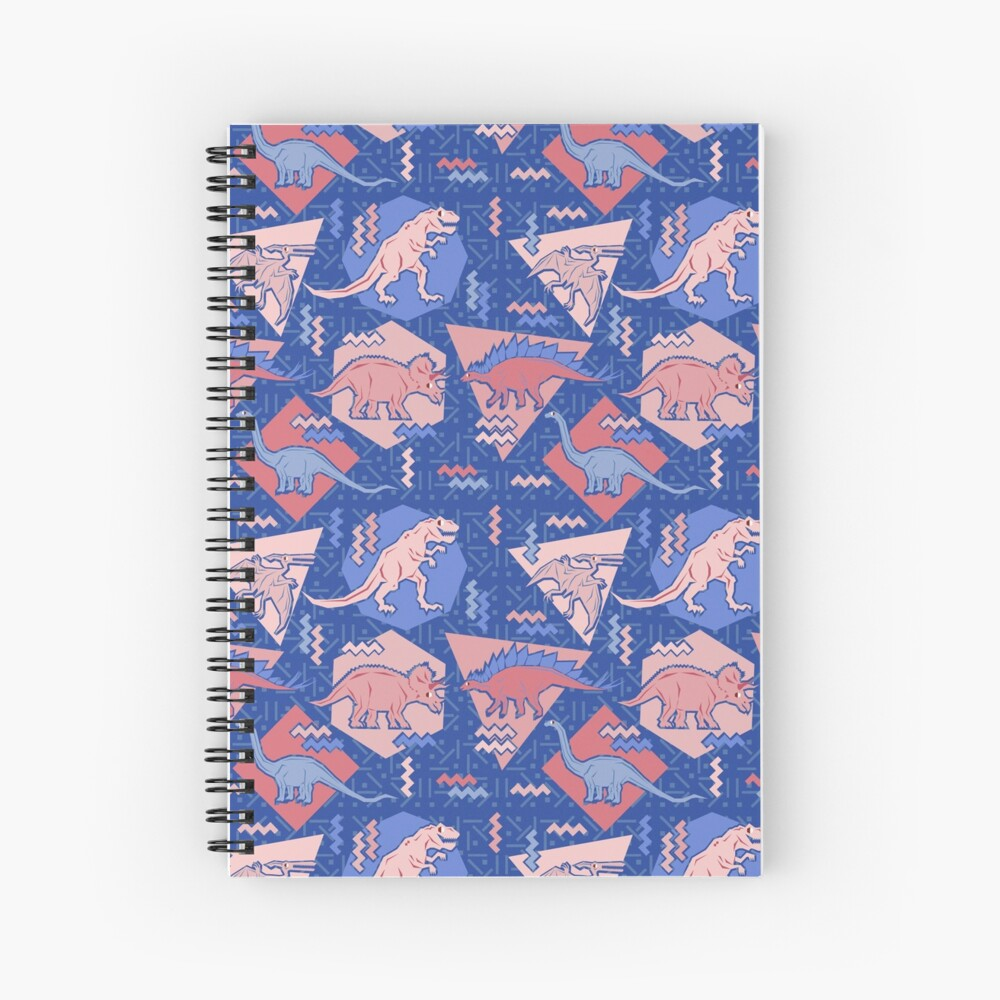 90's Dinosaur Pattern - Rose Quartz and Serenity version Spiral Notebook