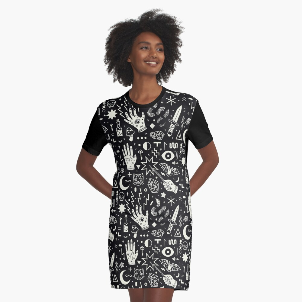 Witchcraft Graphic T-Shirt Dress