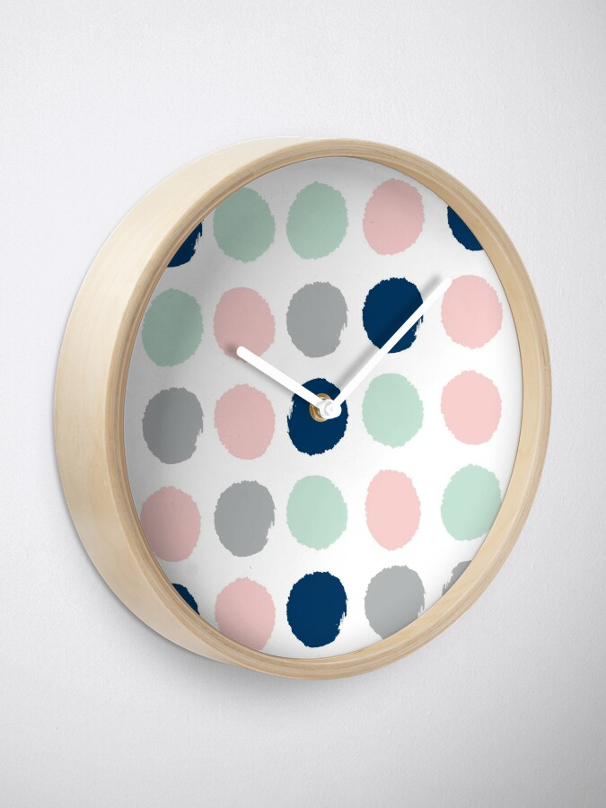 Alternate view of Gender neutral nursery home decor abstract painted dots pattern minimalist  Clock