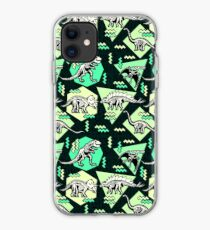 Neon Skeleton Dinosaur Pattern iPhone Case