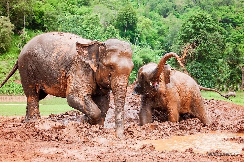 Elephants in Mud Bath Color by emmanem23