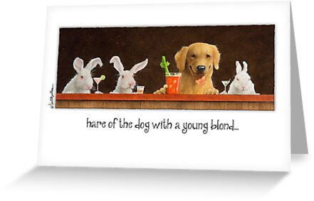 Will Bullas card / hare of the dog with a young blond... by Will Bullas