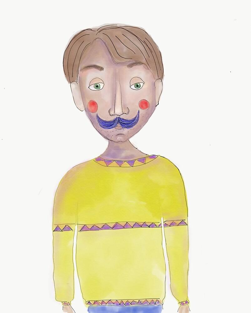 Mr blue Moustasche by Natalia Lampropoulou