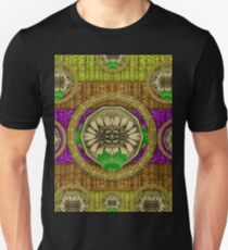 Rainbow flowers in heavy metal and paradise namaste style T-Shirt