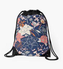 Spring flower dark blue Drawstring Bag