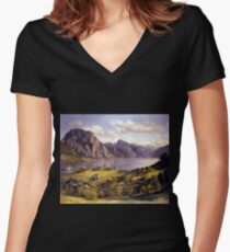 Ferdinand Georg Waldmüller Traunsee with Orth Castle Women's Fitted V-Neck T-Shirt