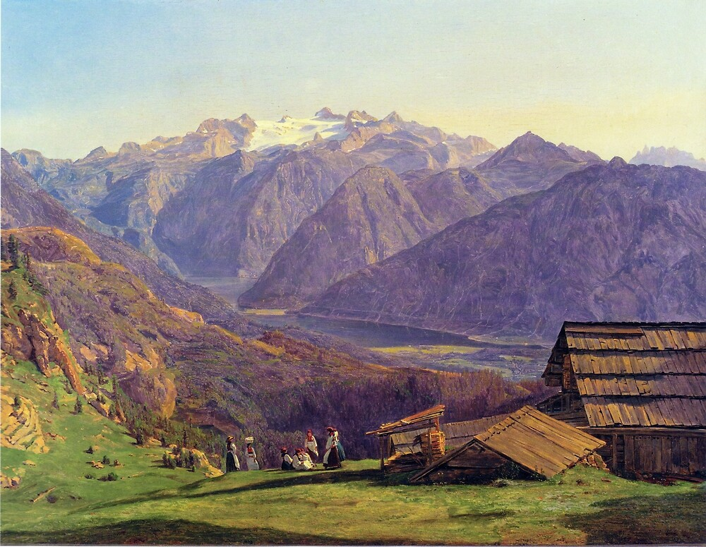 Ferdinand Georg Waldmüller View of the Dachstein with the Hallstättersee from the Hütteneckalpe at Ischl by pdgraphics