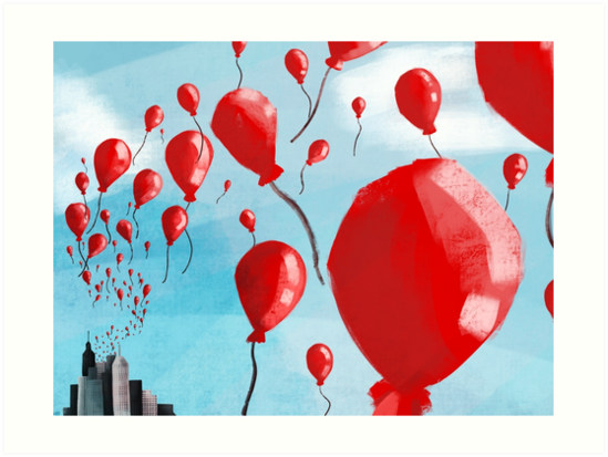 99 Red Balloons Art Prints By Ohms N Wattson