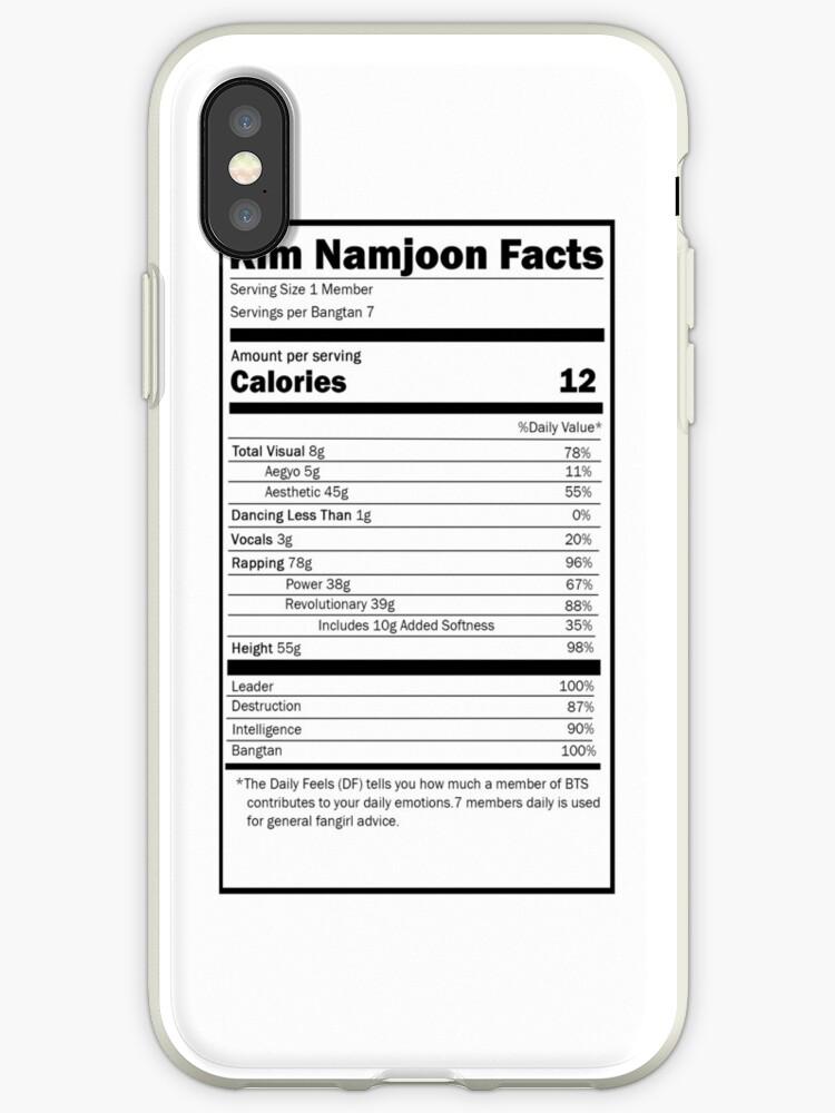Nutrition Facts: BTS Namjoon - iPhone Ver by hobiforjin