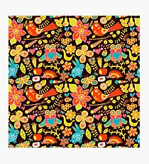 Colorful Whimsical Forest Animals, Birds and Flowers on Dark Background Photographic Print