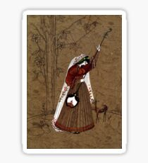 Mughal Girl with Music Instrument Sticker