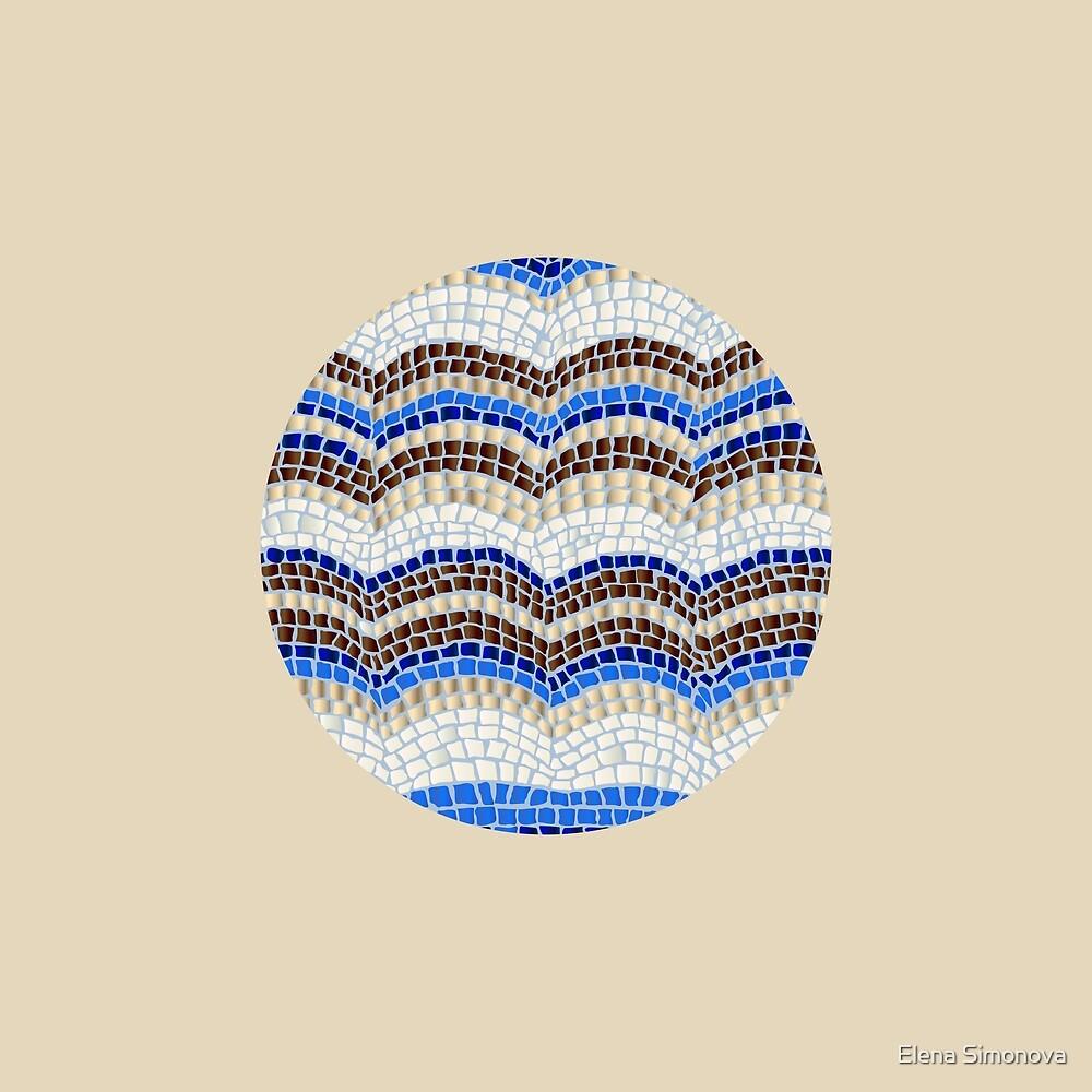 Blue Mosaic on Beige by Elena Simonova