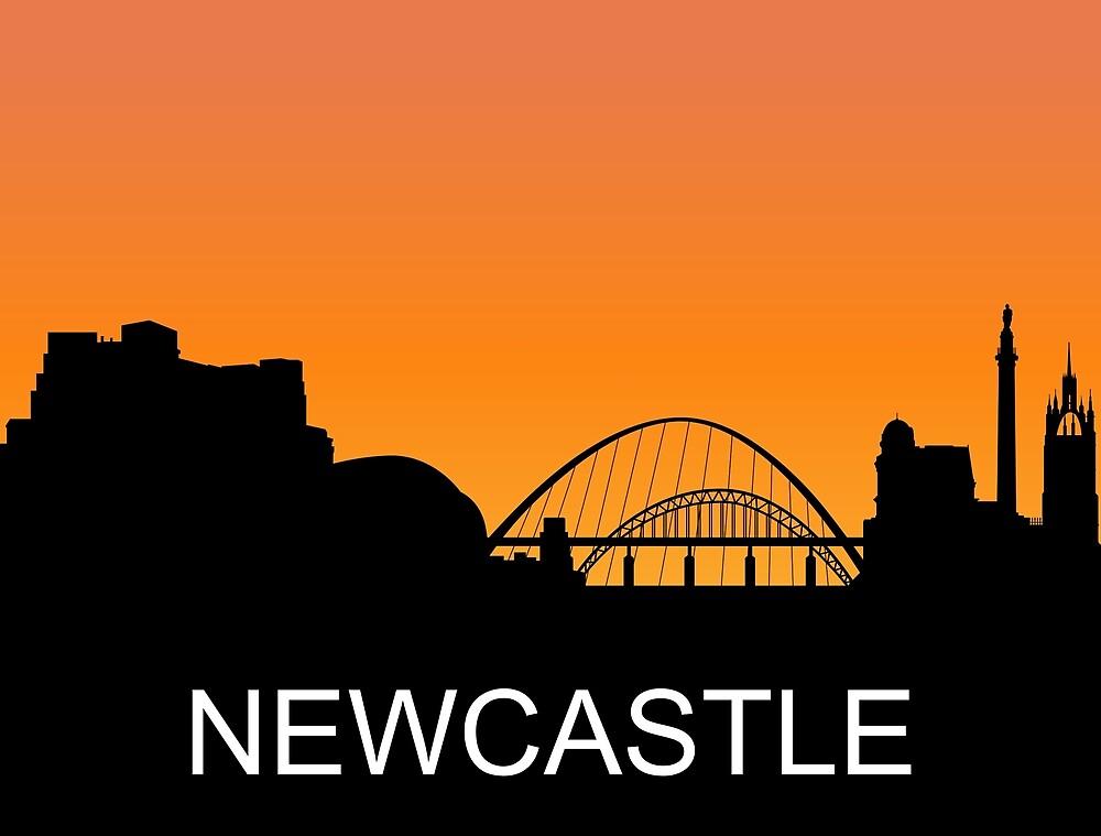 Newcastle, England, romantic sunset, travel sticker by AmorOmniaVincit