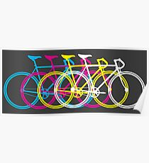 Four Bicycles Bikes CMYK Poster