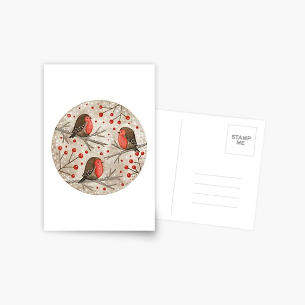 Robins and red berries Postcard