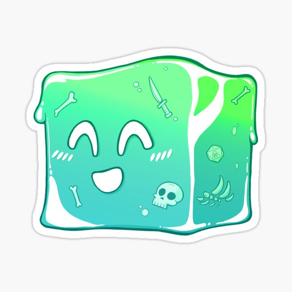 Giggly Gelatinous Cube  - Cute D&D Adventures Sticker