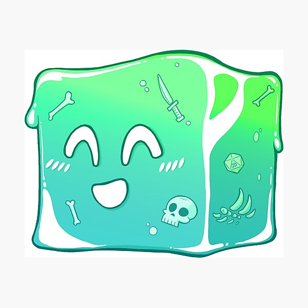 Giggly Gelatinous Cube  - Cute D&D Adventures Photographic Print