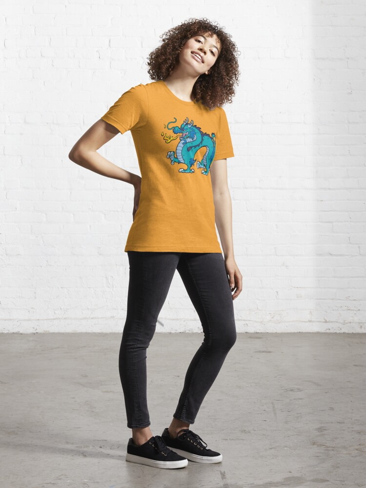 Alternate view of Chinese Dragon - Blue Essential T-Shirt