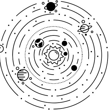 Solar System Line Art Chart Graphic by astralprints