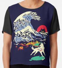The Great Wave off Oni Island Chiffon Top