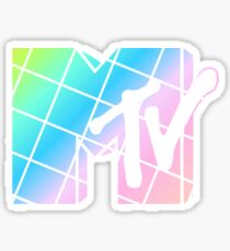 MTV LOGO TIE DYE GRID AESTHETIC TUMBLR MTV 80S 90S RETRO RETROWAVE STYLE 90S KID MTV PASTEL GRAIDENT Sticker