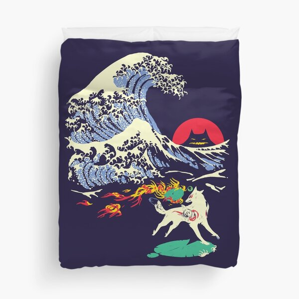 The Great Wave off Oni Island Duvet Cover