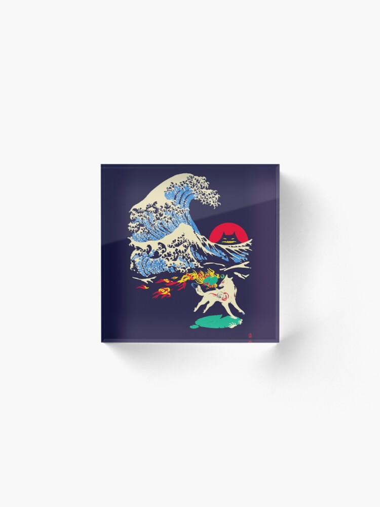 Alternate view of The Great Wave off Oni Island Acrylic Block